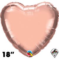 18 Inch Heart Rose Gold Foil Balloon Qualatex 1ct