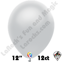 12 Inch Round Metallic Silver Balloon Funsational 12ct