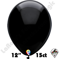 12 Inch Round Standard Black Balloon Funsational 15ct