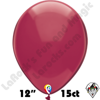 12 Inch Round Crystal Burgundy Balloon Funsational 15ct