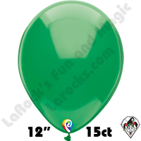 12 Inch Round Crystal Green Balloon Funsational 15ct