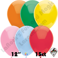 12 Inch Round Standard Assortment Balloon Funsational 15ct