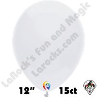 12 Inch Round Standard White Balloon Funsational 15ct