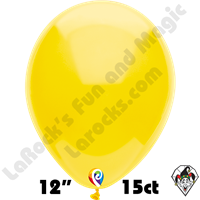 12 Inch Round Standard Yellow Balloon Funsational 15ct