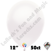 12 Inch Round Pearl White Balloon Funsational 50ct