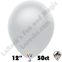 12 Inch Round Metallic Silver Balloon Funsational 50ct