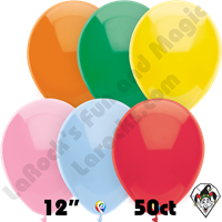 12 Inch Round Standard Assortment Balloon Funsational 50ct