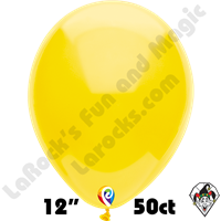 12 Inch Round Standard Yellow Balloon Funsational 50ct