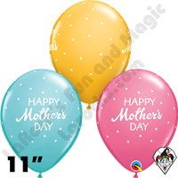 Qualatex 11 Inch Round Mother's Day Petite Polka Dots Balloons 50 Ct