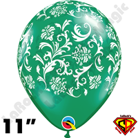 Qualatex 11 Inch Round Damask Emerald Green with White Print Balloons 50ct