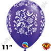 Qualatex 11 Inch Round Damask Pearl Quartz Purple with White Print Balloons 50ct