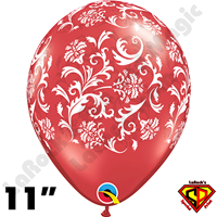 Qualatex 11 Inch Round Damask Ruby Red with White Print Balloons 50ct