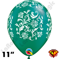 Qualatex 11 Inch Round Damask Pearl Emerald Green with White Print Balloons 50ct