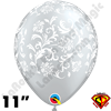 Qualatex 11 Inch Round Damask Metallic Silver with White Print Balloons 50ct