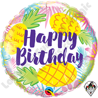 18 Inch Round Birthday Pineapple Foil Balloon Qualatex 1ct