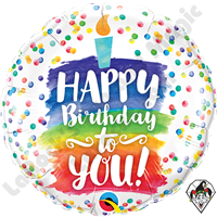 18 Inch Round Happy Birthday To You Rainbow Cake Foil Balloon Qualatex 1ct
