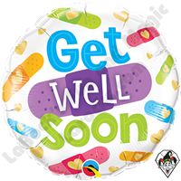 18 Inch Round Get Well Soon Bandages Foil Balloon Qualatex 1ct
