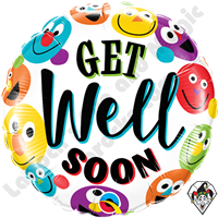 18 Inch Round Get Well Soon Smileys Foil Balloon Qualatex 1ct