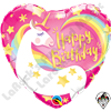 Qualatex 18 Inch Heart Birthday Magical Unicorn Foil Balloon