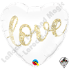 18 Inch Heart Love Glitter Gold Foil Balloon Qualatex