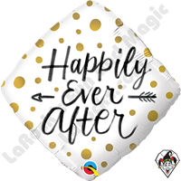 18 Inch Diamond Happily Ever After Gold Dots Foil Balloon Qualatex 1ct.