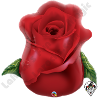 33 Inch Shape Red Rose Bud Foil Balloon Qualatex 1ct