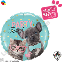 18 Inch Round Studio Pets Party Time Pets Foil Balloon Qualatex 1ct