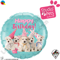 18 Inch Round Studio Pets Birthday Puppies Foil Balloon Qualatex 1ct