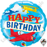 18 Inch Round Birthday Airplanes Foil Balloon Qualatex 1ct.