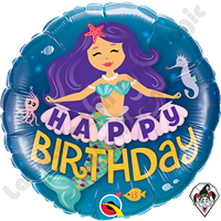 18 Inch Round Happy Birthday Mermaid Foil Balloon Qualatex 1ct.