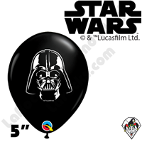 Qualatex 5 Inch Round Darth Vader Face Balloons 100ct