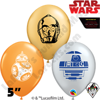 Qualatex 5 Inch Round Assortment Star Wars Droid Faces Balloons 100ct