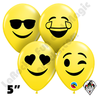 Qualatex 5 Inch Round Assortment Smiley Emoji Faces Balloons 100ct