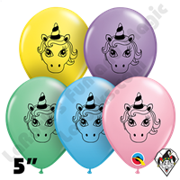 Qualatex 5 Inch Round Assortment Unicorn Head Faces Balloons 100ct