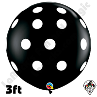 Qualatex 3 Foot Round Round Big Polka Dots Black/White Balloons 2ct