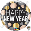 18 Inch Round New Year Metallic Dots Foil Balloon Qualatex 1ct