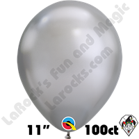 Qualatex 11 Inch Round Chrome Silver Balloons 100ct