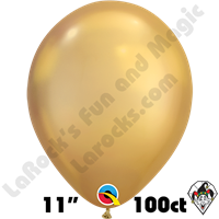 Qualatex 11 Inch Round Chrome Gold Balloons 100ct