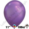 Qualatex 11 Inch Round Chrome Purple Balloons 100ct