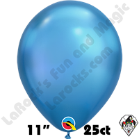 Qualatex 11 Inch Round Chrome Blue Balloons 100ct