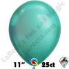 Qualatex 11 Inch Round Chrome Green Balloons 100ct