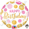 09 Inch Round Birthday Pink & Gold Dots Foil Balloon Qualatex 1ct