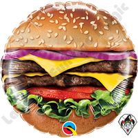 09 Inch Round Cheeseburger Foil Balloon Qualatex 1ct