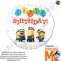 18 Inch Round Minions Birthday Foil Balloon Qualatex 1ct.