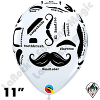 Qualatex 11 Inch Mustache Balloons White 50ct