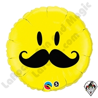 Qualatex 18 Inch Round Smile Face Mustache Foil Balloon 1ct