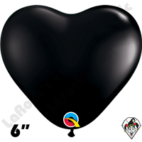 Qualatex 6 Inch Heart Fashion Onyx Black Balloons 100ct