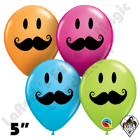 Qualatex 5 Inch Round Smile Mustache Assortment Balloons 100ct