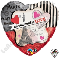 18 Inch Heart All You Need Is Love Foil Balloon Qualatex 1ct