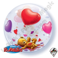 22 Inch Teddy Bears Floating Hearts Bubble Qualatex 1ct